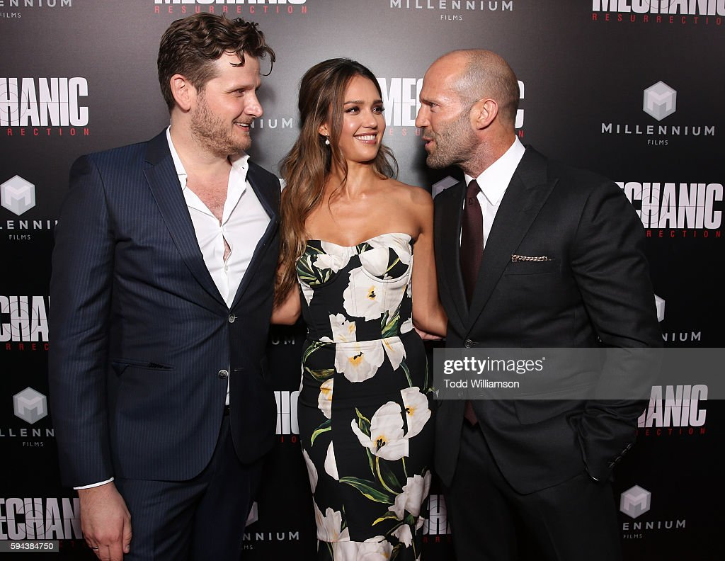Director Dennis Gansel Jessica Alba and Jason Statham attend the Premiere Of Lionsgate Summit Premiere's 'Mechanic Resurrection' at ArcLight...