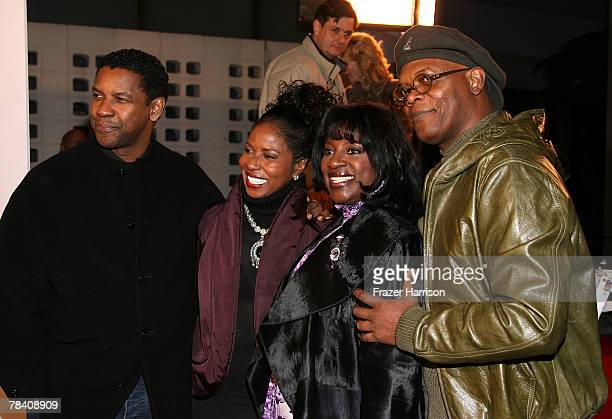 Director Denzel Washington wife Paulette Washington LaTanya Richardson and actor Samuel L Jackson arrive at the MGM premiere of 'The Great Debaters'...
