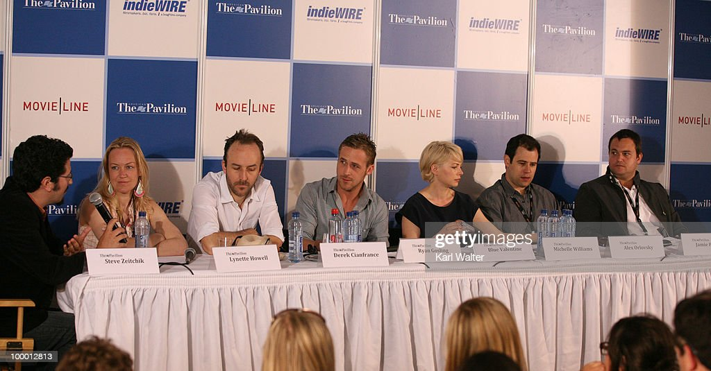 Director Derek Cianfrance, actor Ryan Gosling,Michelle Williams, producers Lynette Howell, Jamie Patricof, and Alex Orlovsky attend the 'Industry In Focus - Blue Valentine' at the American Pavillion during the 63rd Annual Cannes Film Festival on May 20, 2010 in Cannes, France.