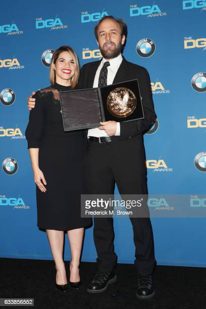 Director Derek Cianfrance winner of the Outstanding Directorial Achievement in Commercials poses with actress America Ferrera in the press room...