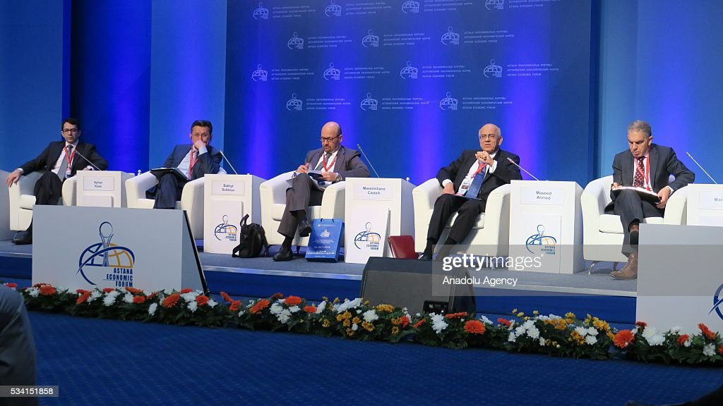 Director, Development Prospects Group, World Bank Ayhan Kose (L), Managing Director, Head of Strategy, Global Sovereign Markets, UBS Global Asset Management Massimiliano Castelli (3rd L) and Director, Middle East and Central Asia Department, IMF Masood Ahmed (2nd R) attend Astana Economic Forum in Astana, Kazakhstan on May 25,2016.