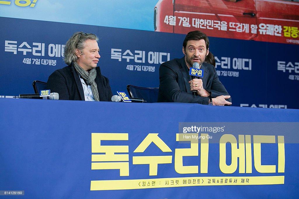 Director Dexter Fletcher and actor Hugh Jackman attend the press