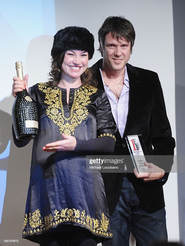 Director Diego Rougier (R) and wife Javiera Contador accept the Grand prize during the closing night awards during the 2013 First Time Fest at The Players Club on March 4, 2013 in New York City.