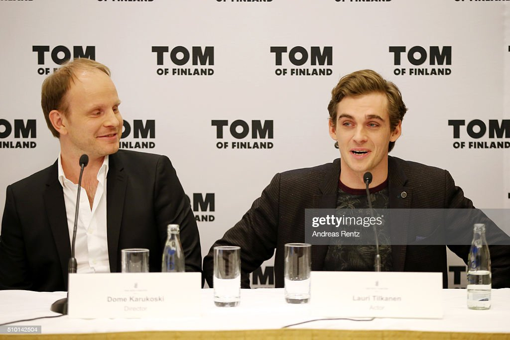 Director Dome Karukoski and Lauri Tilkanen attend the 'Tom of Finland' press conference during the 66th Berlinale International Film Festival Berlin at Ritz Carlton on February 14, 2016 in Berlin, Germany.