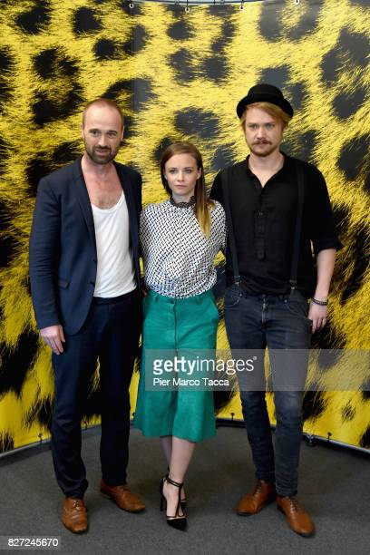 Director Dominik Locher Actress Jasna Fritzi Bauer and Actor Sven Schelker pose during the 'Goliath' during the 70th Locarno Film Festival on August...