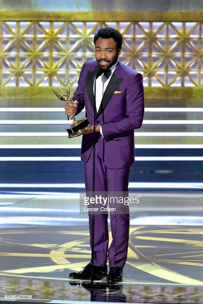 Director Donald Glover accepts the Outstanding Directing for a Comedy Series award for 'Atlanta' onstage during the 69th Annual Primetime Emmy Awards...