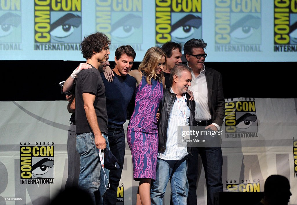 Director Doug Liman, actor Tom Cruise, TV personality Chris Hardwick, actress Emily Blunt, producer Erwin Stoff, actor Bill Paxton and screenwriter Christopher McQuarrie speak onstage at the Warner Bros. and Legendary Pictures preview of 'Edge of Tomorrow' during Comic-Con International 2013 at San Diego Convention Center on July 20, 2013 in San Diego, California.