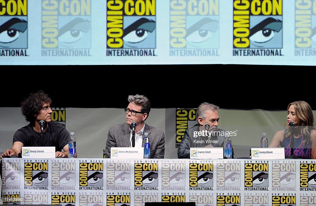 Director Doug Liman, screenwriter Christopher McQuarrie, producer Erwin Stoff and actress Emily Blunt speak onstage at the Warner Bros. and Legendary Pictures preview of 'Edge of Tomorrow' during Comic-Con International 2013 at San Diego Convention Center on July 20, 2013 in San Diego, California.