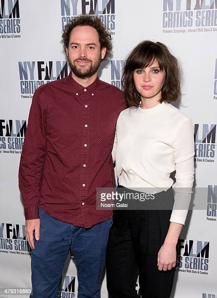 Director Drake Doremus and actress Felicity Jones attend the New York Film Critics Series screening of 'Breathe In' at SVA Theater on March 17 2014...
