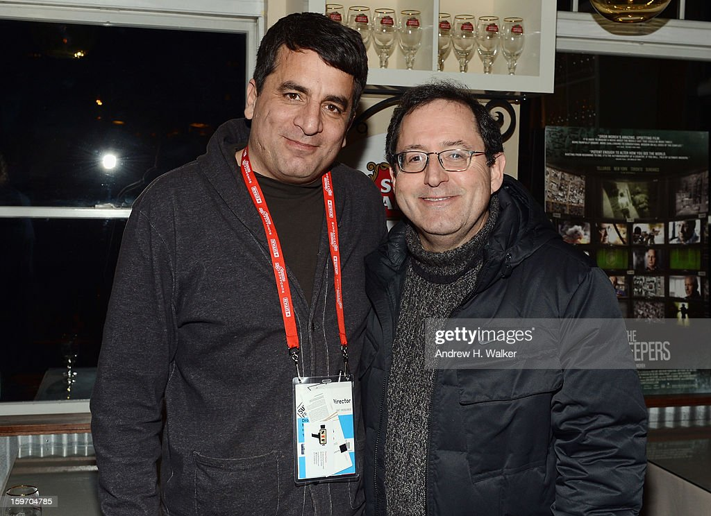 Director Dror Moreh and co-president and co-founder of Sony Pictures Classics, Michael Barker attend the Stella Artois Cafe on January 18, 2013 in Park City, Utah.