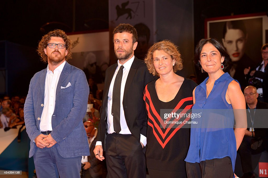 Director Duccio Chiarini, producer Babak Jalali and executive producers <a gi-track='captionPersonalityLinkClicked' href=/galleries/search?phrase=Ginevra+Elkann&family=editorial&specificpeople=4494517 ng-click='$event.stopPropagation()'>Ginevra Elkann</a> and Francesca Zanza from the short film 'Short Skin' attend the 'The Humbling' premiere during the 71st Venice Film Festival on August 30, 2014 in Venice, Italy.