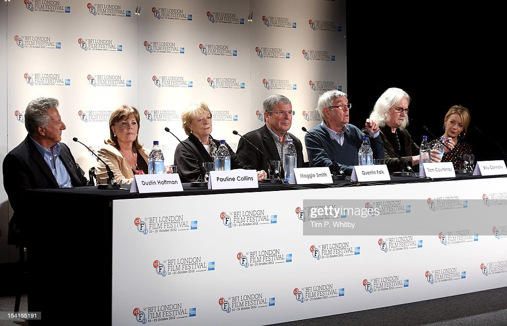 Director Dustin Hoffman, actresses Pauline Collins and Maggie Smith, Quentin Falk and actors Tom Courtenay, Billy Connolly and Sheridan Smith as they attend the 'Quartet' press conference during the BFI London Film Festival at the Empire Leicester Square on October 15, 2012 in London, England.