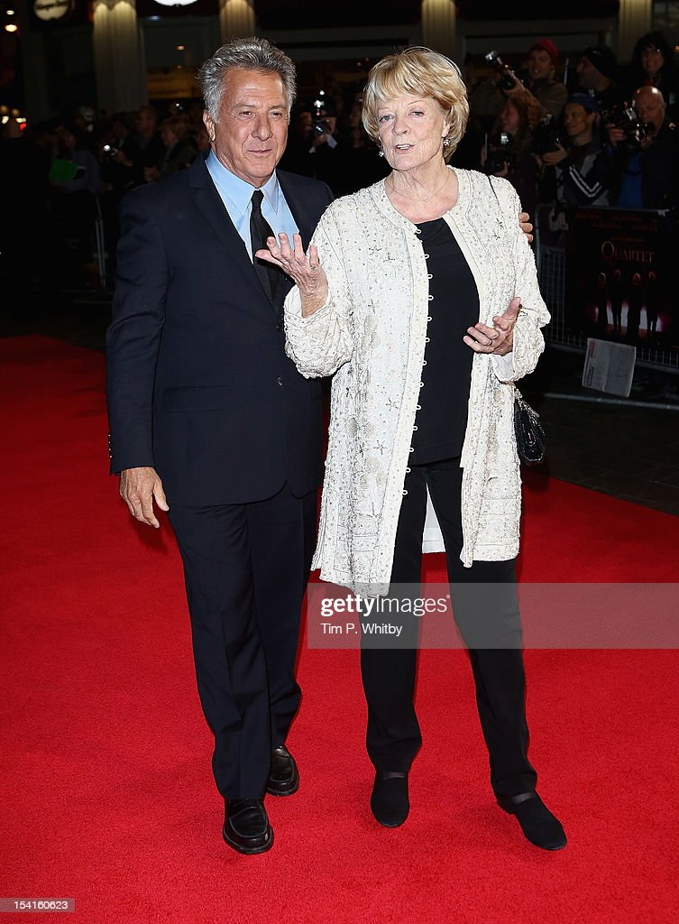 Director <a gi-track='captionPersonalityLinkClicked' href=/galleries/search?phrase=Dustin+Hoffman&family=editorial&specificpeople=171356 ng-click='$event.stopPropagation()'>Dustin Hoffman</a> and actress <a gi-track='captionPersonalityLinkClicked' href=/galleries/search?phrase=Maggie+Smith&family=editorial&specificpeople=206821 ng-click='$event.stopPropagation()'>Maggie Smith</a> attend the 'Quartet' premiere during the 56th BFI London Film Festival at the Odeon Leicester Square on October 15, 2012 in London, England.