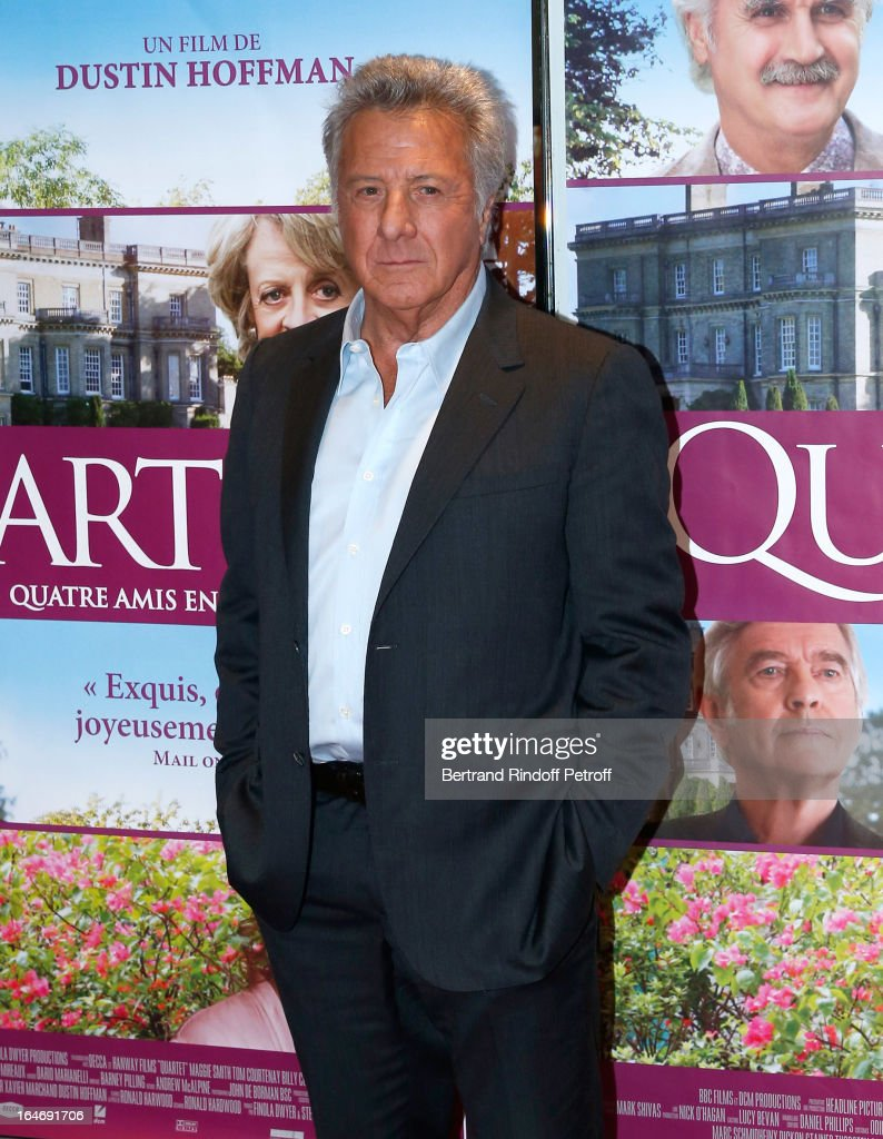 Director <a gi-track='captionPersonalityLinkClicked' href=/galleries/search?phrase=Dustin+Hoffman&family=editorial&specificpeople=171356 ng-click='$event.stopPropagation()'>Dustin Hoffman</a> attends 'Quartet' movie premiere, held at UGC Cine Cite les Halles on March 26, 2013 in Paris, France.