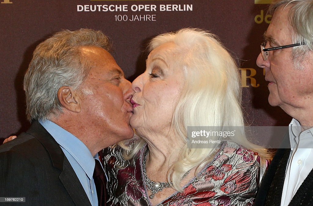 Director <a gi-track='captionPersonalityLinkClicked' href=/galleries/search?phrase=Dustin+Hoffman&family=editorial&specificpeople=171356 ng-click='$event.stopPropagation()'>Dustin Hoffman</a> kisses Gwyneth Jones upon their arrival for the premiere of 'Quartet' at Deutsche Oper on January 20, 2013 in Berlin, Germany.