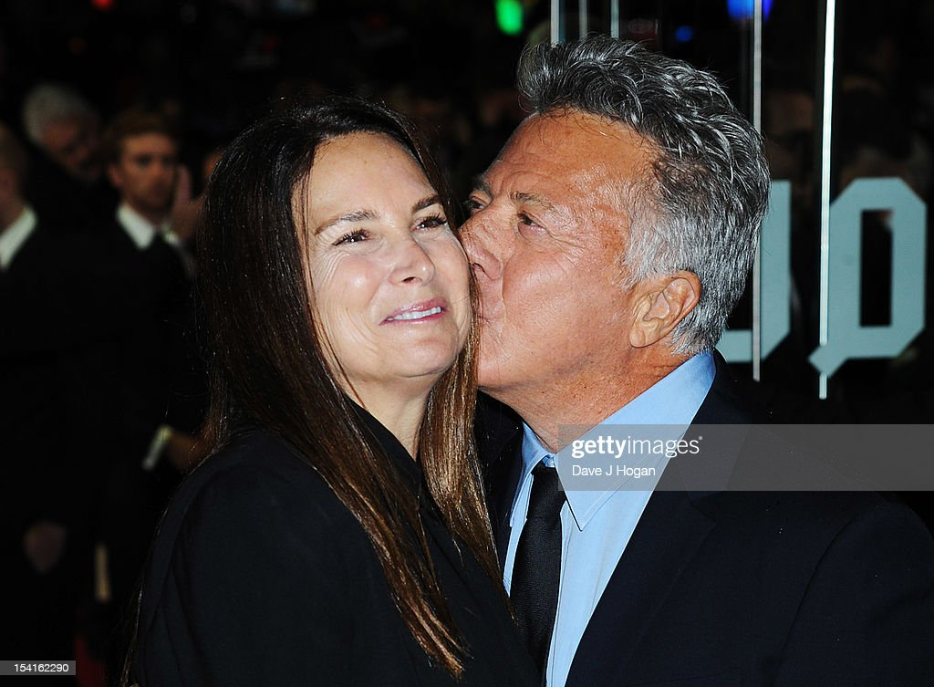 Director <a gi-track='captionPersonalityLinkClicked' href=/galleries/search?phrase=Dustin+Hoffman&family=editorial&specificpeople=171356 ng-click='$event.stopPropagation()'>Dustin Hoffman</a> kisses wife Lisa Gottsegen at the premiere of 'Quartet' during the 56th BFI London Film Festival at Odeon Leicester Square on October 15, 2012 in London, England.