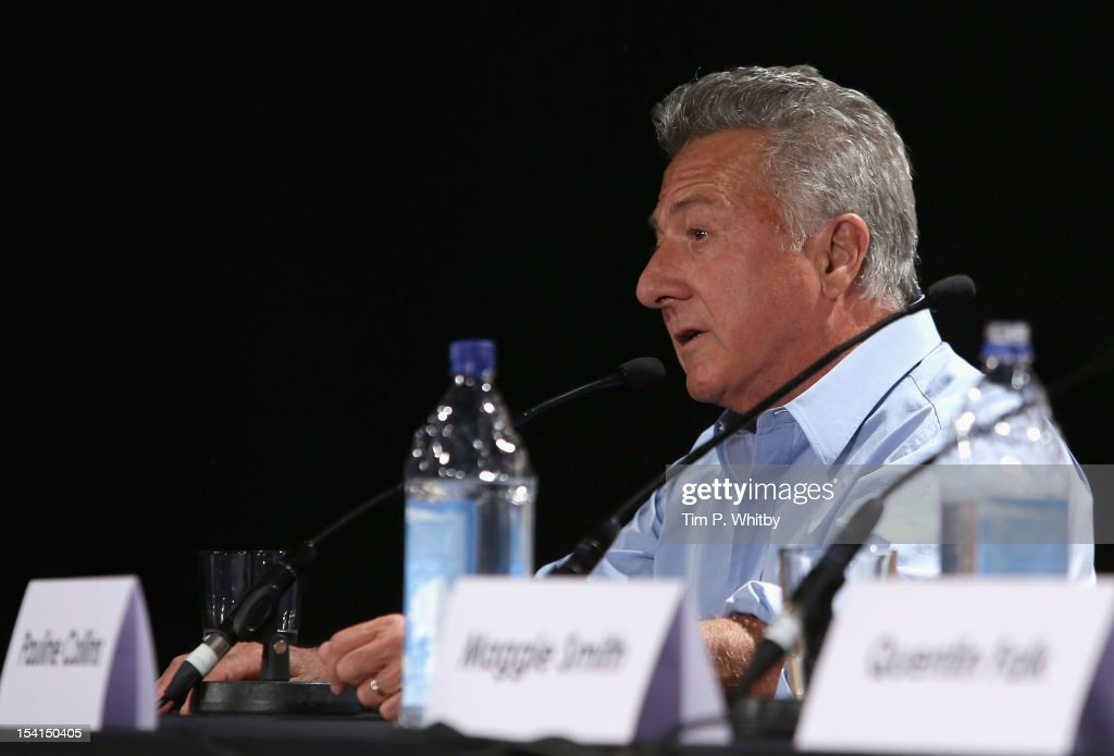 Director <a gi-track='captionPersonalityLinkClicked' href=/galleries/search?phrase=Dustin+Hoffman&family=editorial&specificpeople=171356 ng-click='$event.stopPropagation()'>Dustin Hoffman</a> speaks as he attends the 'Quartet' press conference during the BFI London Film Festival at the Empire Leicester Square on October 15, 2012 in London, England.