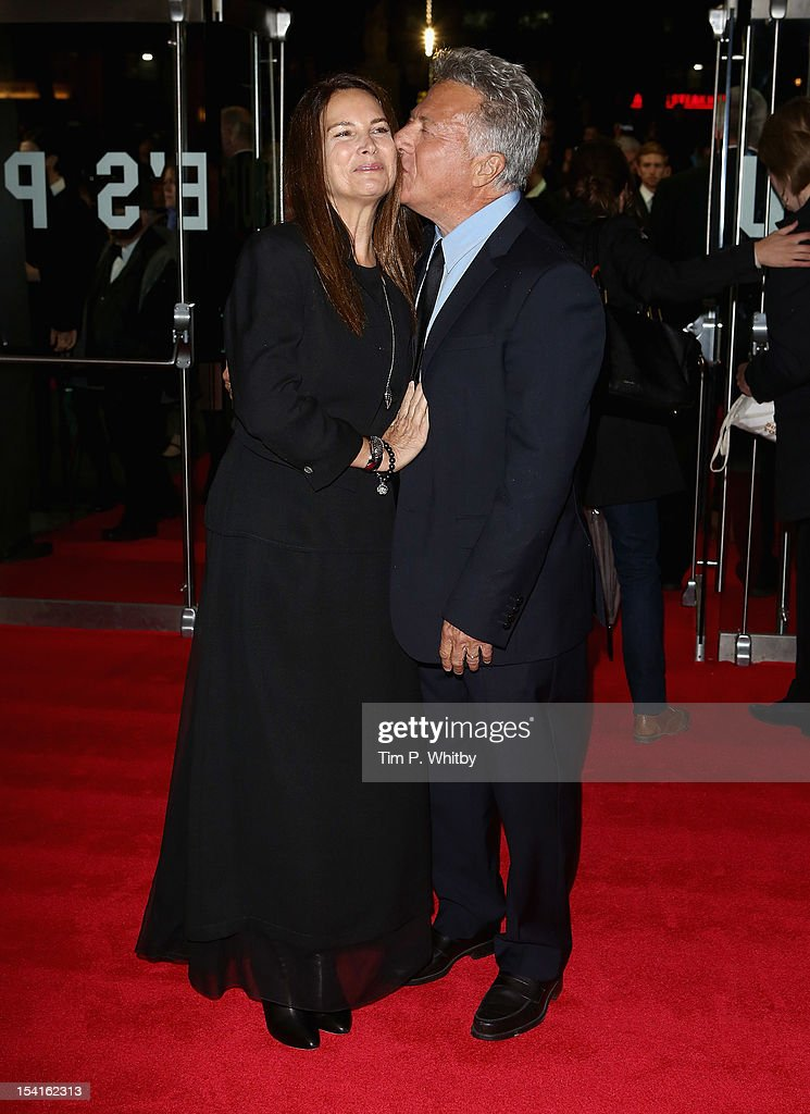 Director <a gi-track='captionPersonalityLinkClicked' href=/galleries/search?phrase=Dustin+Hoffman&family=editorial&specificpeople=171356 ng-click='$event.stopPropagation()'>Dustin Hoffman</a> with his wife Lisa attend the 'Quartet' premiere during the 56th BFI London Film Festival at the Odeon Leicester Square on October 15, 2012 in London, England.