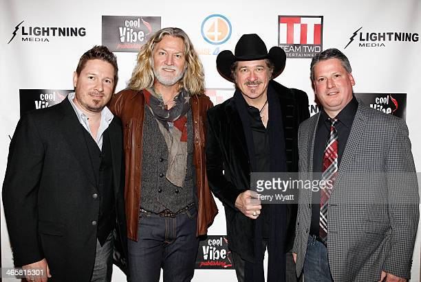 Director Dustin Rikert William Shockley Kix Brooks and Jim Elward attend the 'Ambush At Dark Canyon' premiere at the Country Music Hall of Fame and...