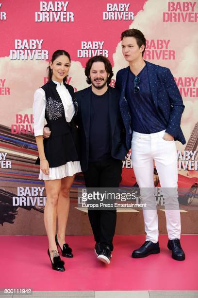 Director Edgar Wright actor Ansel Elgort and actress Eiza Gonzalez attend 'Baby Driver' photocall at Villa Magna hotel on June 23 2017 in Madrid Spain