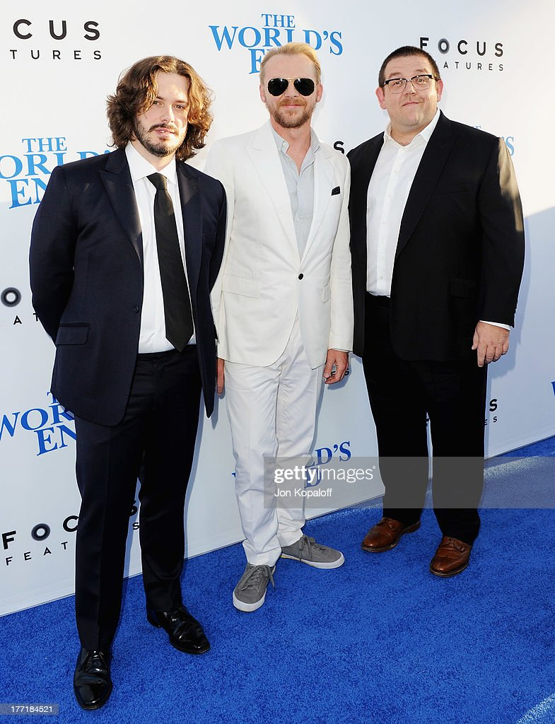 Director <a gi-track='captionPersonalityLinkClicked' href=/galleries/search?phrase=Edgar+Wright&family=editorial&specificpeople=2194043 ng-click='$event.stopPropagation()'>Edgar Wright</a>, actor <a gi-track='captionPersonalityLinkClicked' href=/galleries/search?phrase=Simon+Pegg&family=editorial&specificpeople=206280 ng-click='$event.stopPropagation()'>Simon Pegg</a> and actor Nick Frost arrive at the Los Angeles Premiere 'The World's End' at ArcLight Cinemas Cinerama Dome on August 21, 2013 in Hollywood, California.
