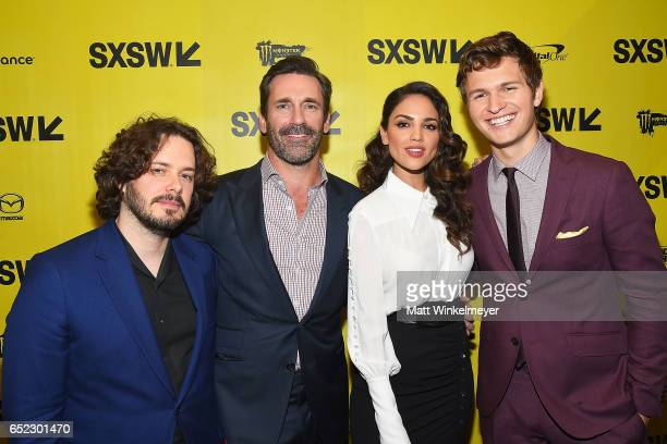 Director Edgar Wright actors Jon Hamm Eiza Gonzalez and Ansel Elgort attend the 'Baby Driver' premiere 2017 SXSW Conference and Festivals on March 11...