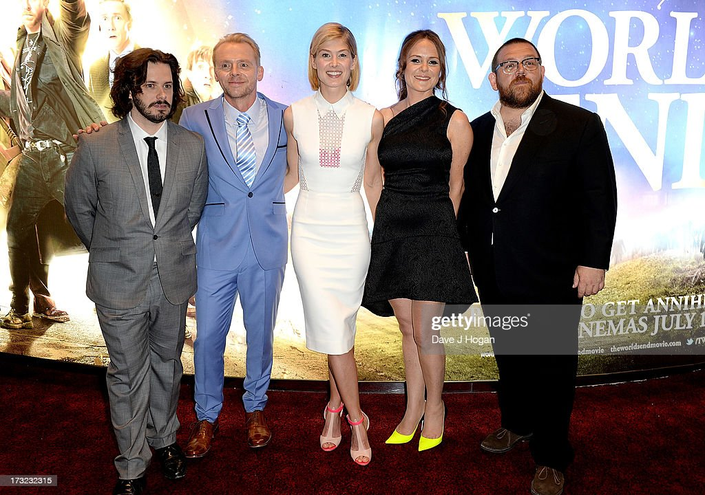 Director <a gi-track='captionPersonalityLinkClicked' href=/galleries/search?phrase=Edgar+Wright&family=editorial&specificpeople=2194043 ng-click='$event.stopPropagation()'>Edgar Wright</a>, actors <a gi-track='captionPersonalityLinkClicked' href=/galleries/search?phrase=Simon+Pegg&family=editorial&specificpeople=206280 ng-click='$event.stopPropagation()'>Simon Pegg</a>, <a gi-track='captionPersonalityLinkClicked' href=/galleries/search?phrase=Rosamund+Pike&family=editorial&specificpeople=208910 ng-click='$event.stopPropagation()'>Rosamund Pike</a>, producer Nira Park and actor Nick Frost attend 'The World's End' world premiere at the Empire Leicester Square on July 10, 2013 in London, England.