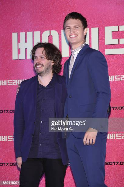 Director Edgar Wright and actor Ansel Elgort attend the 'Baby Driver' press conference at COEX Megabox on August 25 2017 in Seoul South Korea The...