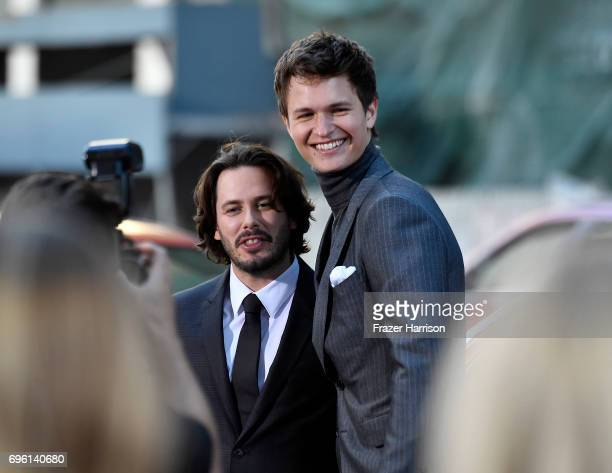 Director Edgar Wright and Ansel Elgort arrive at the Premiere of Sony Pictures' 'Baby Driver' at Ace Hotel on June 14 2017 in Los Angeles California
