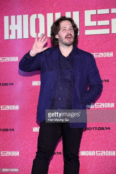 Director Edgar Wright attends at the 'Baby Driver' press conference at COEX Megabox on August 25 2017 in Seoul South Korea The film will open on...