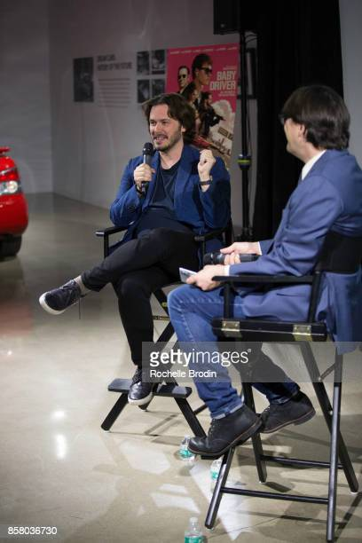 Director Edgar Wright talks about the making of his film 'Baby Driver' with LA Times reporter Mark Olsen at a panel discussion at the Petersen...