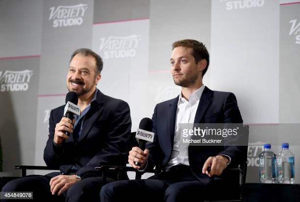 Director Edward Zwick and actor Tobey Maguire speak at the Variety Studio presented by Moroccanoil at Holt Renfrew during the 2014 Toronto...