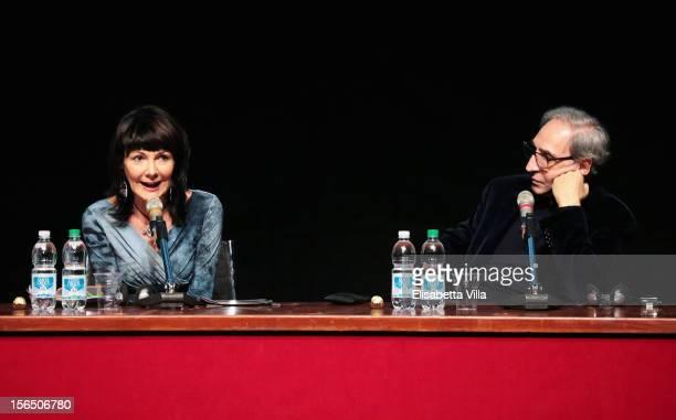 Director Elisabetta Sgarbi and Franco Battiato attend the 'Il Viaggio Della Signorina Vila' Press Conference during the 7th Rome Film Festival at the...