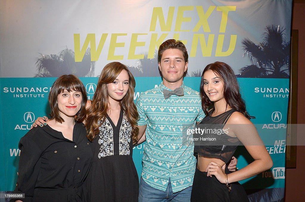 Director Eliza Hittman actors Gina Piersanti Ronen Rubinstein and Giovanna Salimeni attend 'It Felt Like Love' premiere during NEXT WEEKEND presented...
