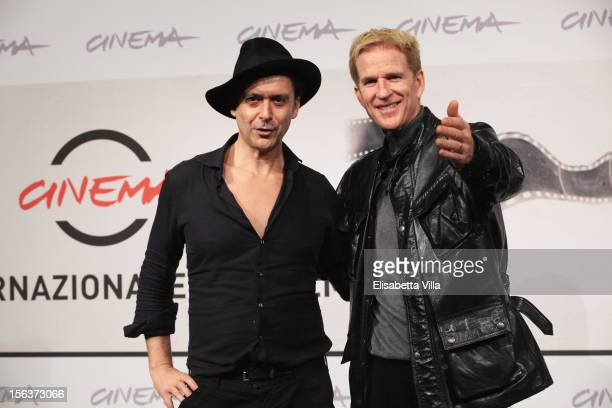 Director Emiliano Montanari and Matthew Modine attend the Full Metal Jacket Diary Redux' Photocall during the 7th Rome Film Festival on November 14...