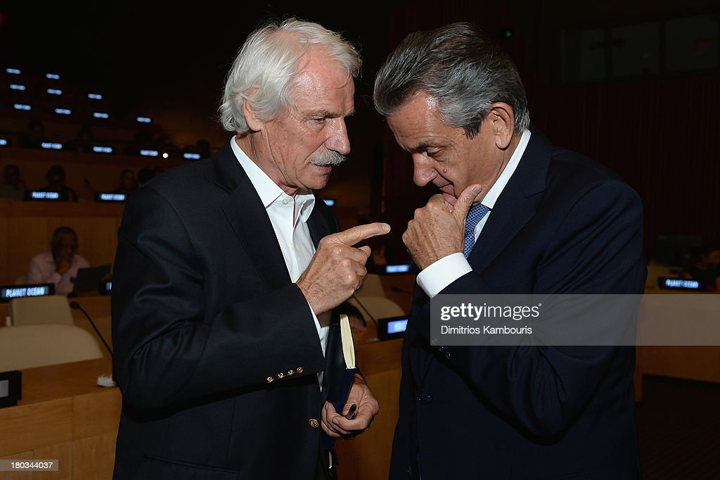 Director/ environmentalist Yann ArthusBertrand and Stephen Urquhart President of Omega SA attend the United Nations and OMEGA presention of Planet...