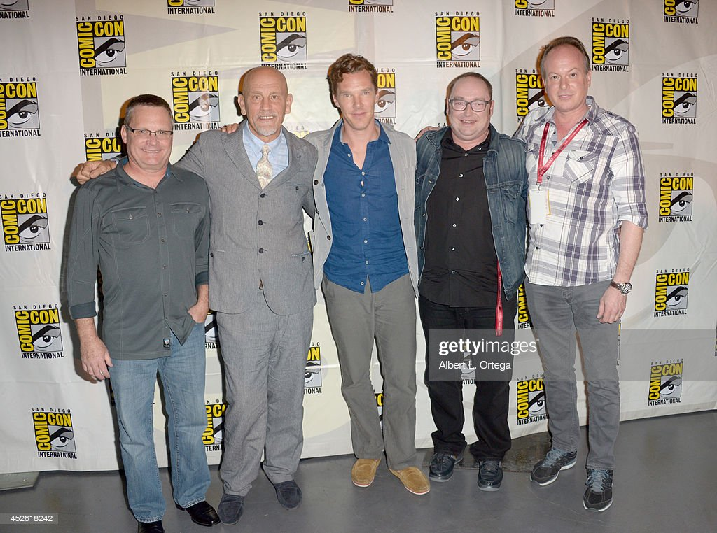 Director Eric Darnell, actors John Malkovich and Benedict Cumberbatch, director Simon J. Smith, and writer Tom McGrath attend the DreamWorks Animation presentation during Comic-Con International 2014 at the San Diego Convention Center on July 24, 2014 in San Diego, California.