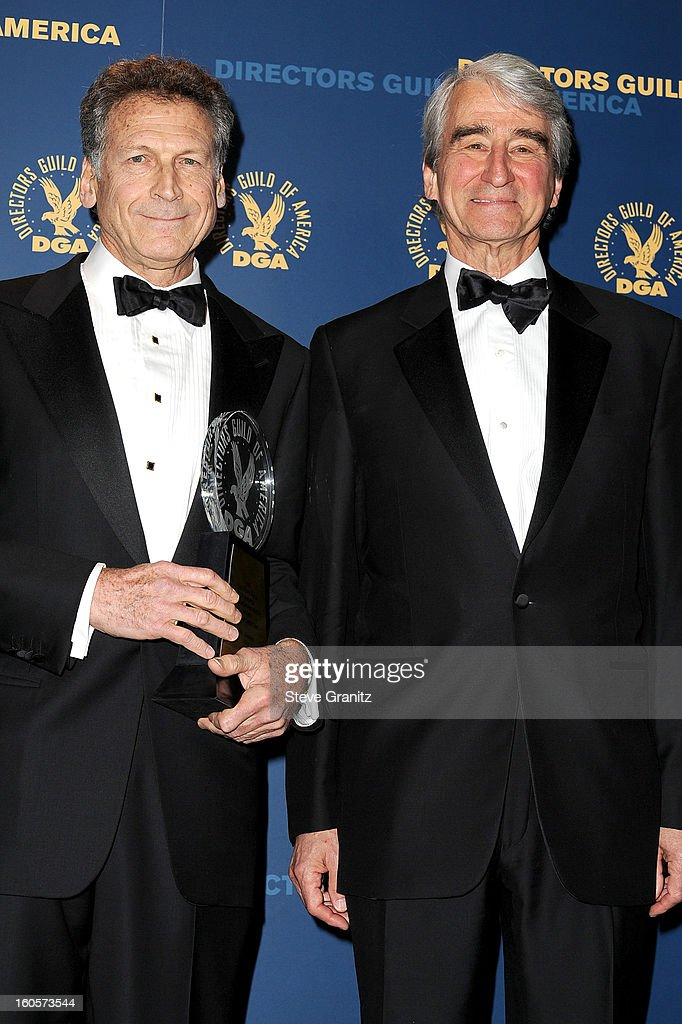 Director Eric Shapiro, winner of the Lifetime Achievement in News Direction Award (L) and presenter <a gi-track='captionPersonalityLinkClicked' href=/galleries/search?phrase=Sam+Waterston&family=editorial&specificpeople=212718 ng-click='$event.stopPropagation()'>Sam Waterston</a> poses in the press room at the 65th Annual Directors Guild Of America Awards at The Ray Dolby Ballroom at Hollywood & Highland Center on February 2, 2013 in Hollywood, California.