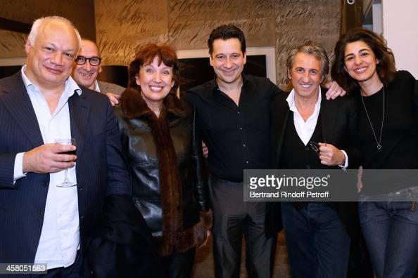 Director EricEmmanuel Schmitt guest Politician Roseline Bachelot Narquin Laurent Gerra actor Richard Anconina and Sarah Doraghi pose backstage...