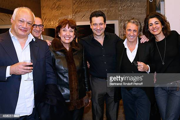 Director EricEmmanuel Schmitt guest Politician Roseline Bachelot Narquin Laurent Gerra actor Richard Anconina and Sarah Doraghi pose backstage...