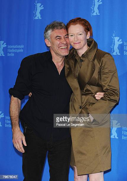 Director Erick Zonca and Tilda Swinton attend the 'Julia' Photocall and Press Conference as part of the 58th Berlinale Film Festival at the Grand...