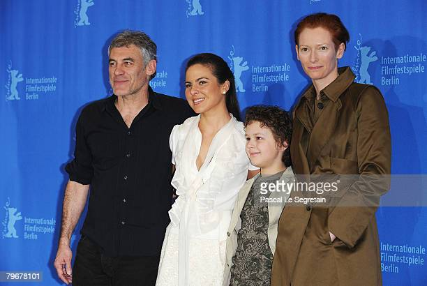 Director Erick Zonca Kate del Castillo Aidan Gould and Tilda Swinton attend the 'Julia' Photocall and Press Conference as part of the 58th Berlinale...