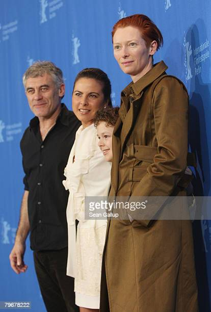 Director Erick Zonca Kate del Castillo Aidan Gould and Tilda Swinton attend the 'Julia' photocall during day three of the 58th Berlinale...
