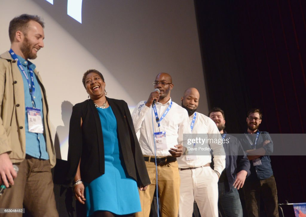 Director Erik Ljung, film subjects Maria Hamilton, Nate Hamilton, Dameion Peters, editor Michael Vollman and cinematographer Dan Peters speak onstage at the premiere of 'The Blood Is at the Doorstep' during 2017 SXSW Conference and Festivals at Alamo Ritz on March 13, 2017 in Austin, Texas.