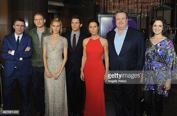 Director Erik Van Looy poses with actors Wentworth Miller Isabel Lucas James Marsden Rhona Mitra Eric Stonestreet and Kali Rocha at the screening of...