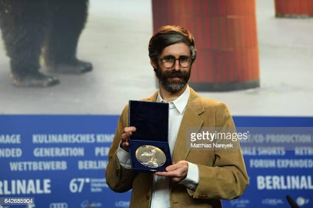 Director Esteban Arrangoiz winner of the Silver Bear Jury Prize Short Film attends the award winners press conference during the 67th Berlinale...