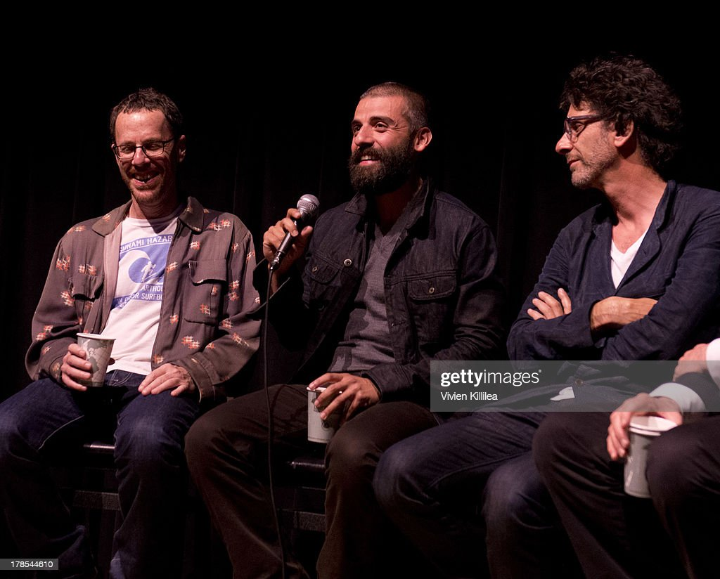 Director <a gi-track='captionPersonalityLinkClicked' href=/galleries/search?phrase=Ethan+Coen&family=editorial&specificpeople=1130888 ng-click='$event.stopPropagation()'>Ethan Coen</a>, actor <a gi-track='captionPersonalityLinkClicked' href=/galleries/search?phrase=Oscar+Isaac&family=editorial&specificpeople=2275888 ng-click='$event.stopPropagation()'>Oscar Isaac</a> and director <a gi-track='captionPersonalityLinkClicked' href=/galleries/search?phrase=Joel+Coen&family=editorial&specificpeople=4292064 ng-click='$event.stopPropagation()'>Joel Coen</a> participate in a Q&A after their film 'Inside Llewyn Davis' at the 2013 Telluride Film Festival - Day 1 on August 29, 2013 in Telluride, Colorado.