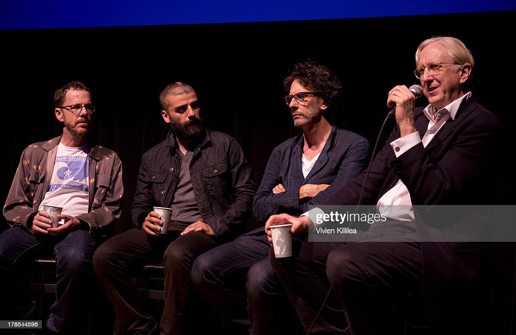 Director <a gi-track='captionPersonalityLinkClicked' href=/galleries/search?phrase=Ethan+Coen&family=editorial&specificpeople=1130888 ng-click='$event.stopPropagation()'>Ethan Coen</a>, actor <a gi-track='captionPersonalityLinkClicked' href=/galleries/search?phrase=Oscar+Isaac&family=editorial&specificpeople=2275888 ng-click='$event.stopPropagation()'>Oscar Isaac</a>, director <a gi-track='captionPersonalityLinkClicked' href=/galleries/search?phrase=Joel+Coen&family=editorial&specificpeople=4292064 ng-click='$event.stopPropagation()'>Joel Coen</a> and producer <a gi-track='captionPersonalityLinkClicked' href=/galleries/search?phrase=T-Bone+Burnett&family=editorial&specificpeople=234573 ng-click='$event.stopPropagation()'>T-Bone Burnett</a> participate in a Q&A after their film 'Inside Llewyn Davis' at the 2013 Telluride Film Festival - Day 1 on August 29, 2013 in Telluride, Colorado.