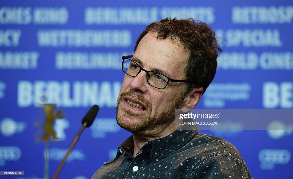 US director Ethan Coen attends a press conference for the film 'Hail, Caesar!' screened as opening film of the 66th Berlinale Film Festival in Berlin on February 11, 2016. Eighteen pictures will vie for the Golden Bear top prize at the event which runs from February 11 to 21, 2016. / AFP / John MACDOUGALL