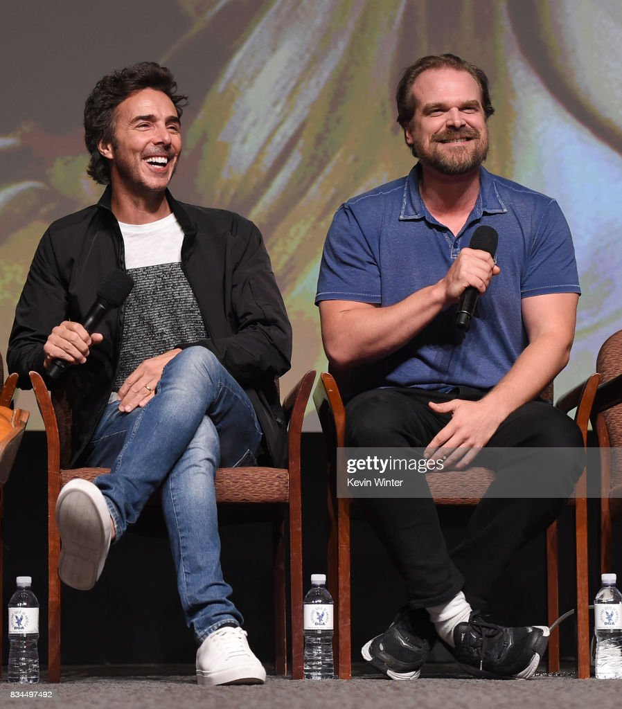 Director, executive producer Shawn Levy (L) and actor David Harbour speak onstage at a reception and q&a for Netflix's 'Stranger Thing' at the Directors Guild on August 17, 2017 in Los Angeles, California.